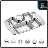 Fork Spoon Stainless Steel 7 Compartmet Divider Fast Food Tray/Serving Plate