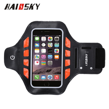 "HAISSKY 5.0"" LED Safety Flashing Sports Running Armband Case For iPhone 6/6S/7/8/X Samsung Galaxy S4 S5 S6 Edge"