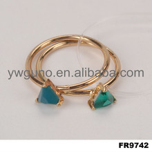 Fashion new design glass gold emerald finger ring 24k