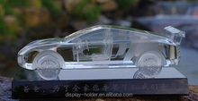 3D engraving crystal car model with black base for gifts