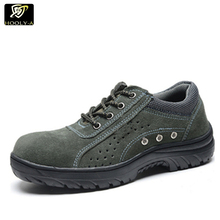 China manufacturer custom lightweight steel toe metal cap safety work trainers shoes men breathable shoes
