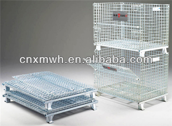 Collapsible wire container storage cage