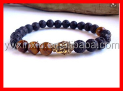 2016 The Top Selling Fashion Beads Tiger <strong>Stone</strong> And Volcano Bracelet Elastic Size with Gold Metal Buddha Bracelet