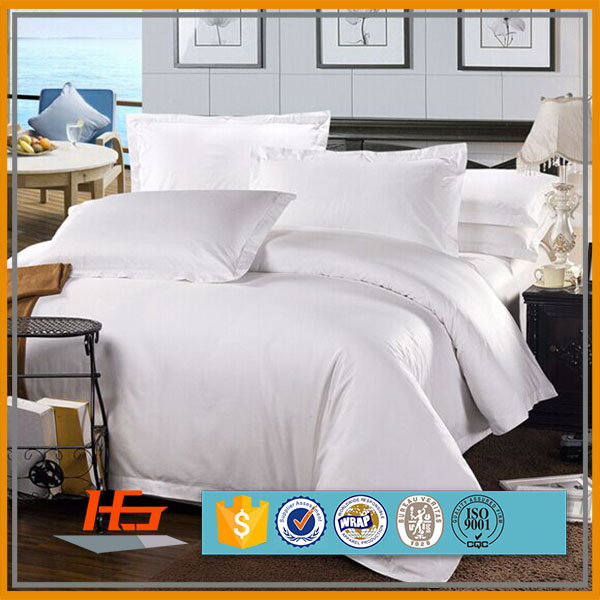 Luxury Hotel 100% Cotton Sateen Bulk White Bedding Sheet Set
