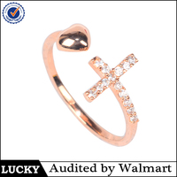 2016 Sells Rose Gold Color Adjustable Cross Ring