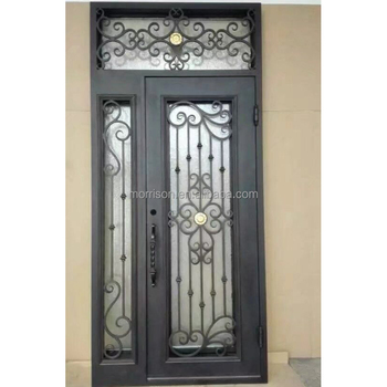 cheap price wrought iron glass doors