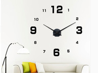 Silver Color Mirror Wall Clock Luxury Home Decor 3D Big Wall Sticker Clock For Home Decoration