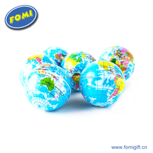 Wholesale custom logo shape 6.3CM colorful earth shape christmas cheap pu stress relief anti stress ball