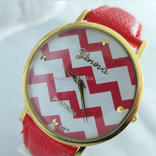 Leather Strap Color Stripe Dial Super Design Casual Geneva Wrist Watch for Women Boy and Girls