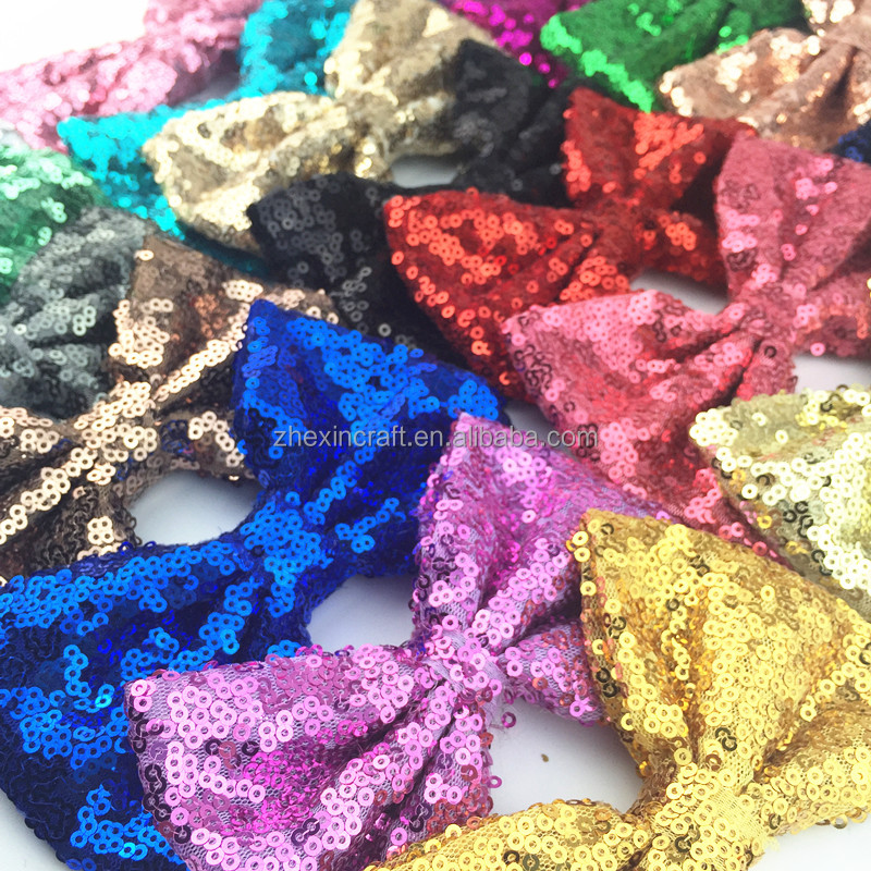 "5"" big red green gold sequin metallic hair bow for baby girl headband glitter bow headwear kids headwraps for Christmas"
