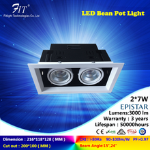 CE ROHS 2*7W Double Head COB LED Bean Pot Light High CRI LED Ceiling Lights cob led downlight