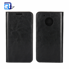 Wholesale Mobile Phone Solid Color Crazy Horse Texture Genuine Leather Case Horizontal Flip Stand Cover Wallet Case For Moto G5