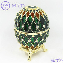Vintage style colorful enameled hollow Faberge style crystal Russian egg trinket jewelry box