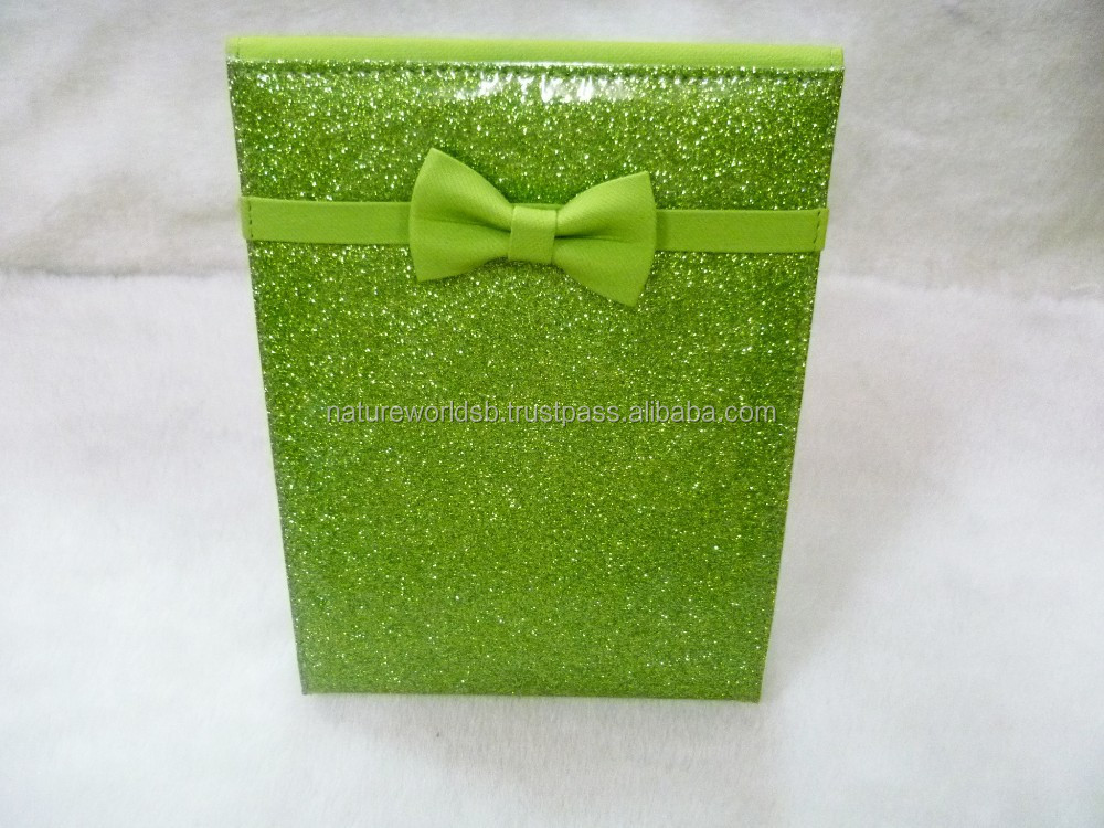 Green Color Glitter Triple Folding PU Cosmetic Mirror
