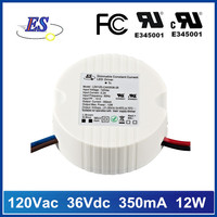 12W 36V 350mA Constant Current Dimmable LED Driver Power Supply with Triac Dimmer,UL CUL FCC approval