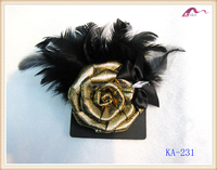 Fashion Gold Rose Feather Brooch For Ladies