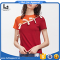 fancy clothes new design color block contrast split knot detail blank cotton t shirts
