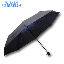 Black Rubber Hot Sale Sun Protection Anti-UV Beautiful Cheap Fashion Starry Sky 3 Fold Umbrella For Gift