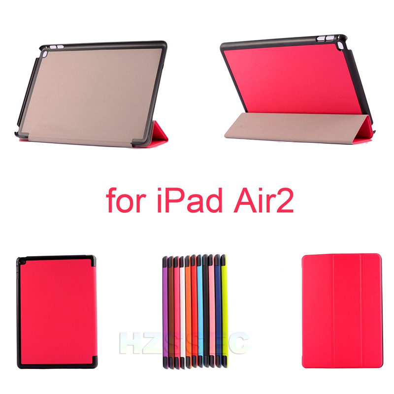 2016 Hot Selling Purple Leather Stand Case Customized Label Smart Tablet Cover For Ipad Air2 9.7''