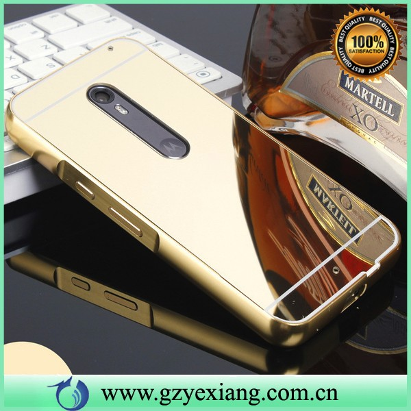aluminum metal bumper case for moto x style plated mirror back cover