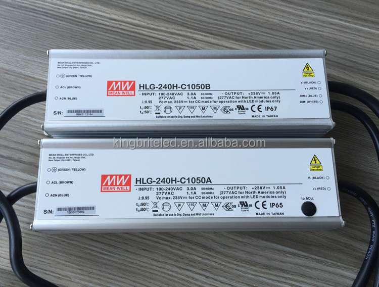 HLG-240H-C1050, HLG-240H-C1050A, HLG-240H-C1050B, Original MeanWell 1050mA Constant Current Mode LED Driver