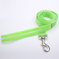 Polyester material green color led dog leash, glow in the dark