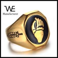 Titanium casting hand engrave gold ring designs for men