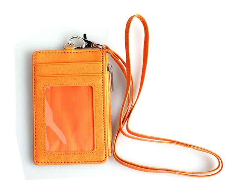 Hot selling pu leather id badge holder