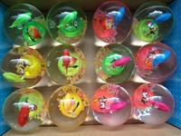 Children's toys Led crystal Elastic ball Flash Bouncing ball with cute small fish