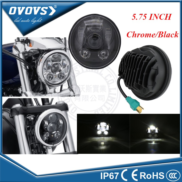 OVOVS Univeral 5 3/4 Led Car Headlight Projector Hi/lo Chrome 5.75 Inch Led Headlight For Motorcycle