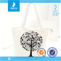 Trees shoulder bag eco-friendly zipper bag for shopping