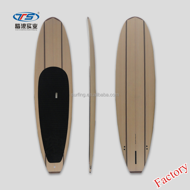 Premium design Wooden nose and tail cheap fiberglass wood sup board