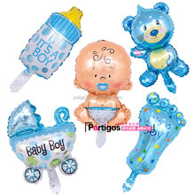 Partigos Mini Baby Foil Balloons Birthday Party Baby Feet Shower Bottle Air inflatable Globos Decor Supplies Baby Shower Gifts