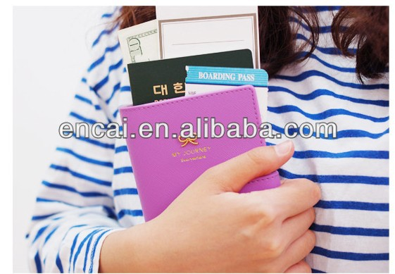 Encai Factory Newest Jamstudio Travel Passport Cover Bowknot Logo Passport Case Stocked PU Passport Holder