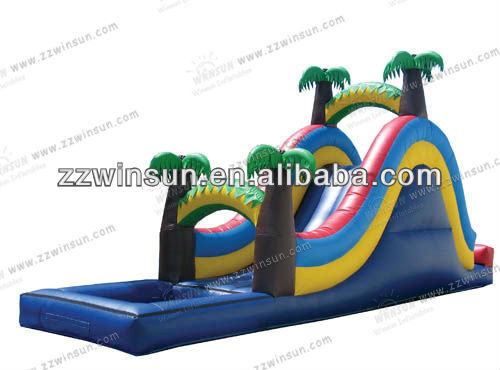 customized inflatable outdoor air tree cartoon slide pool