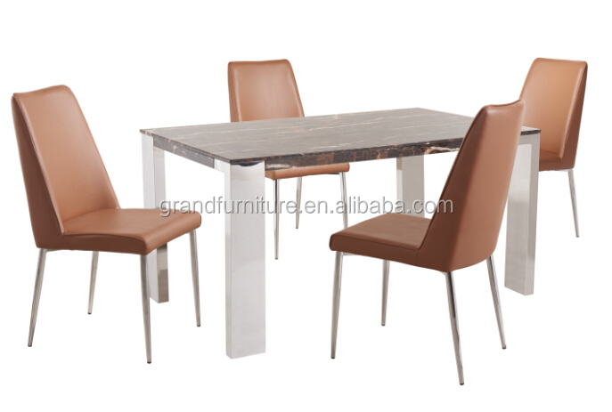 Modern Marble Top Table and 4 Chairs Metal Kitchen Comformation