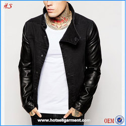 Cheap price best selling guangdong suplier faux leather sleeves men denim jacket fashion black jackets
