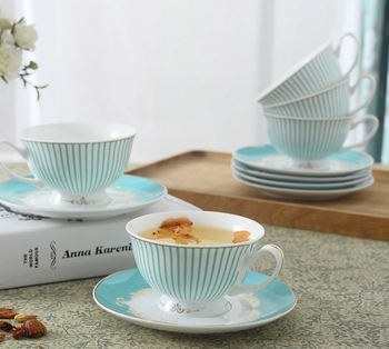 Vintage Blue Bone China Teacup and Saucer Set of 4pcs