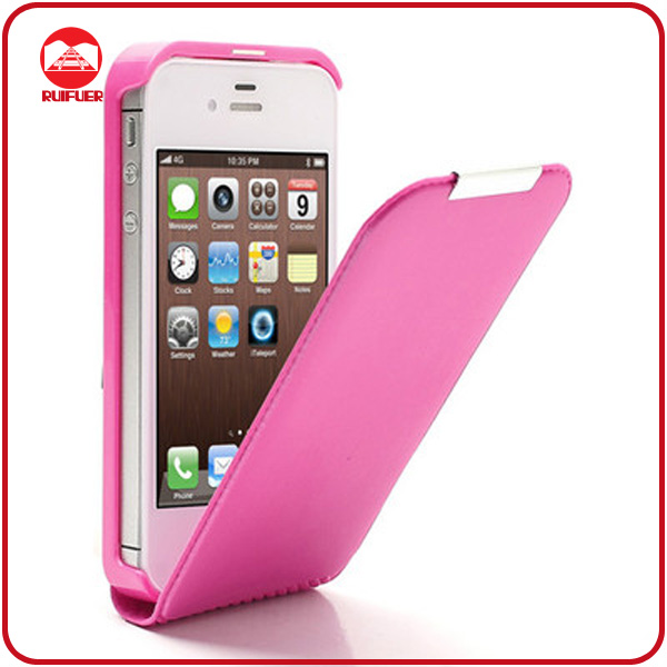 High Quality Hot Pink Leather Magnetic Slim Flip Telephone Case for Iphone 4 4s