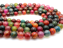 8mm multi color jewelry accessory Natural tourmaline round agate beads