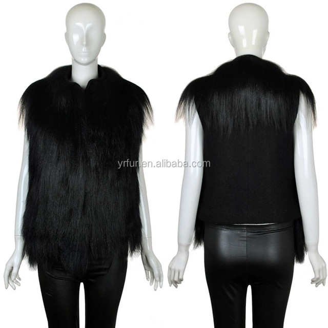 YR815 Fashion women design Real long hair shearing goat fur vest