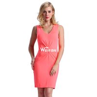 Plus Size New Dress Fashion V Neck Pink Sexy Mature Nude Casual Women Dress Model