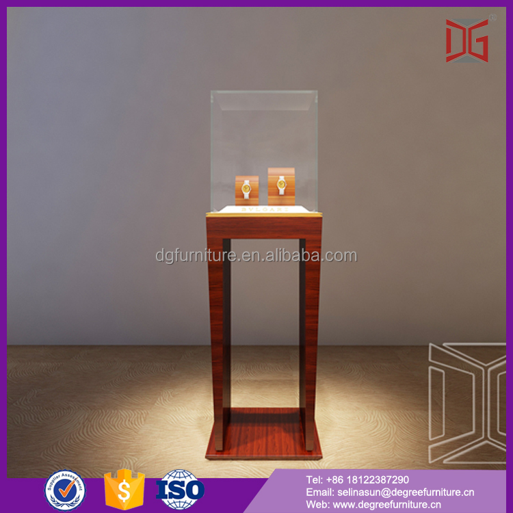 New Design Glass Tabletop Wood Portable Jewelry Display Cases