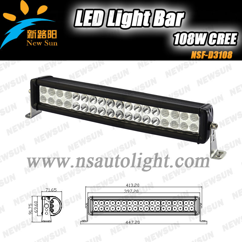 High power 12 V LED light bar,LED HID Auto driving lights and bars,ip67 offroad driving led light bar 108W C ree Double Row
