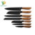 Stainless Steel 7pcs Color Painting Non-stick Coating kitchen knife set Wooden Handle