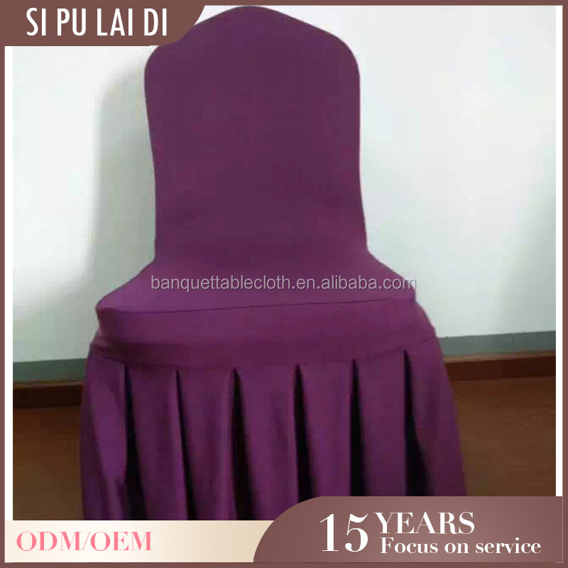 Custom luxel hotel cheap universal christmas pleated strech purple chair covers for wedding