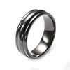 Men's engraved wedding Band black titanium ring BR1003