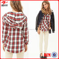 Women wholesale long sleeves plaid flannel hoodies custom hoodies