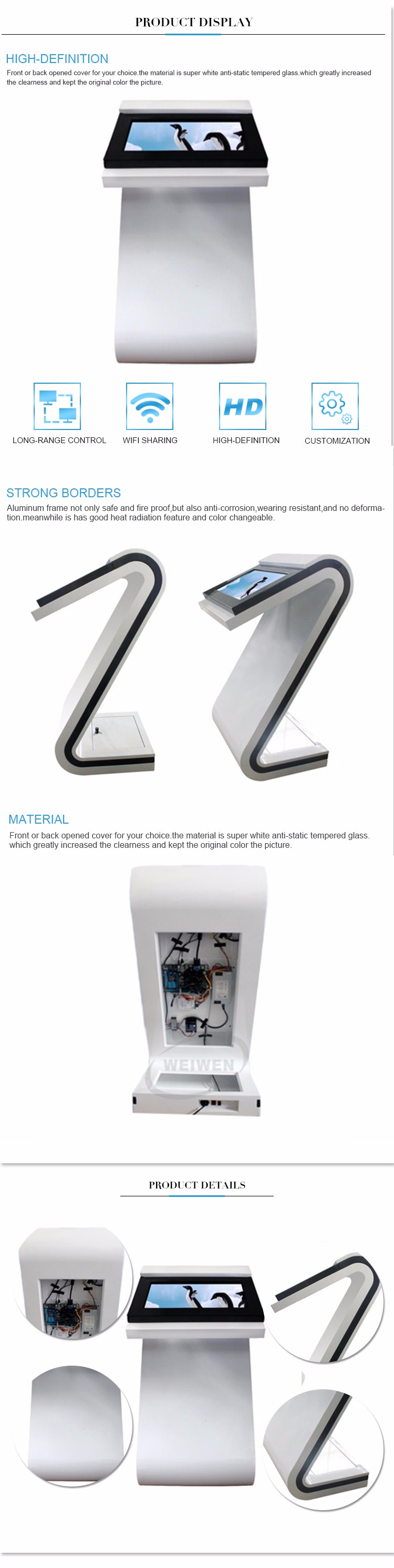 Network horizontal touch screen kiosk wifi advertising player for shopping mall