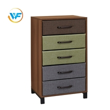 Chest Storage Living Room Corner Cabinet with Fabric 3 Drawer